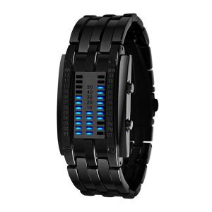Đồng hồ Soleasy LED Electronic Men Women Stainless Steel Blue Displayer Sports Wristwatch-Black WTH0740