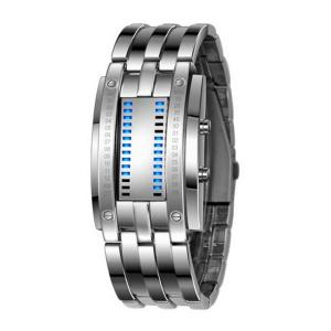 Đồng hồ Soleasy LED Electronic Men Women Stainless Steel Blue Displayer Sports Wristwatch-White WTH0741