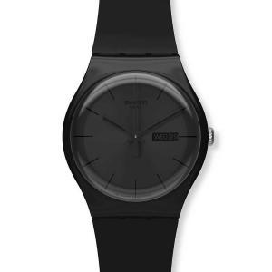 Đồng hồ SWATCH SUOB702 black Rebel black dial silicone strap men watch NEW