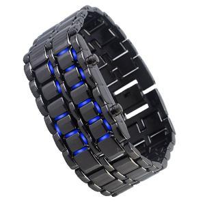 Đồng hồ AQY Lava Style Iron Samurai Black Bracelet blue LED Watch with box