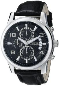 Đồng hồ GUESS Men's U0076G1 Black Classic Crocodile-Grained Leather Strap Chronograph Watch