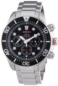 Đồng hồ Seiko Men's SSC015P1 Chronograph Solar Power Black Dial Watch