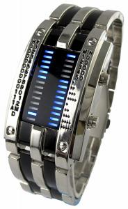 Đồng hồ YouYouPifa Trendy Design Army Style LED Watch with Alloy Bracelet and 28 Blue LED Lights for Time & Date Display