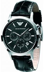 Đồng hồ Emporio Armani Chronograph Black Dial Black Leather Men's Watch - AR2447