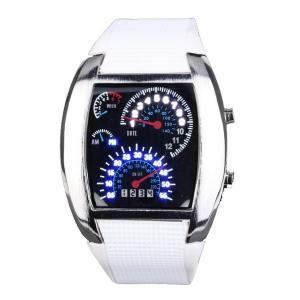 Đồng hồ Yesurprise Fashion Silicone Rubber Band Blue Binary DOT Unisex LED Wrist Watch White