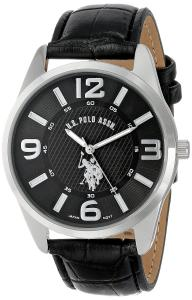 Đồng hồ U.S. Polo Assn. Classic Men's USC50010 Analogue Black Dial Leather Strap Watch