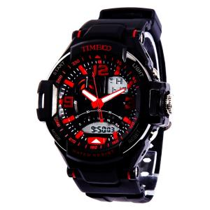 Đồng hồ TIME100 LED Dual-time Display Multifunction Red Numbers Sport Electronic Watch #W40103G.02A