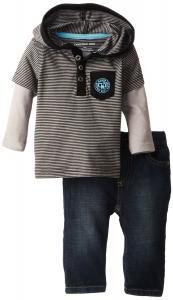 Quần áo trẻ em Calvin Klein Baby-Boys Newborn Twofer Black Stripes Tee with Jeans