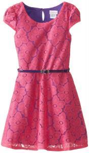 Váy trẻ em Youngland Little Girls' Cap Sleeve Floral Lace Dress