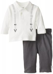 Quần áo trẻ em  Calvin Klein Baby-Boys Newborn Polo with Suspenders and Cargo Pants