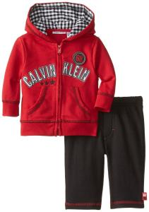 Quần áo trẻ em Calvin Klein Baby-Boys Newborn Red Hooded Jacket with Pull On Pants