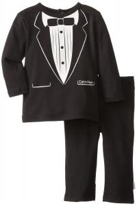 Quần áo trẻ em Calvin Klein Baby-Boys Infant Long Sleeve Blazer Screen Print Tee and Pants