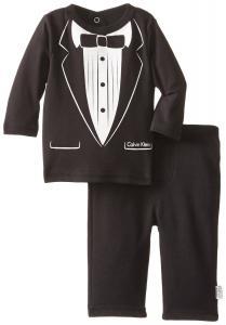 Quần áo trẻ em Calvin Klein Baby-Boys Newborn Black Long Sleeve Tee Blazer