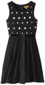 Váy trẻ em Nicole Miller Big Girls' Girls Belted Knit Ponte Fit-and-Flare Dress