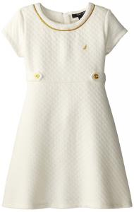 Váy trẻ em Nautica Little Girls' Quilted Double Knit Dress with Gold Piping At Neckline 2