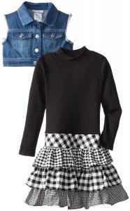 Váy trẻ em Bonnie Jean Big Girls' Knit-To-Woven Dress with Denim Vest