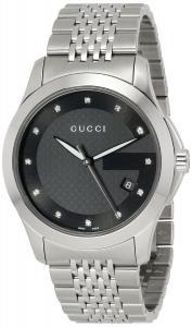 Đồng hồ Gucci Men's YA126405 G-Timeless Medium Diamond Marker Black Dial Watch