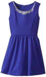 Váy trẻ em Amy Byer Big Girls' Fit and Flare Dress with Jeweled Peter Pan Collar