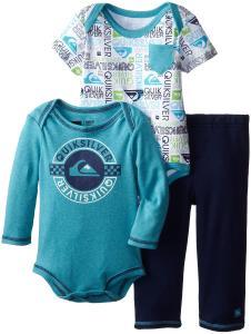 Quần áo trẻ em  Quiksilver Baby-Boys Infant Blue Long Sleeve Body Suit Printed Short
