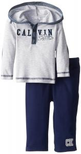 Quần áo trẻ em Calvin Klein Baby-Boys Infant Gray Hoody with Pull On Pants