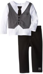 Quần áo trẻ em Calvin Klein Baby-Boys Infant Long Sleeve Vested Tee and Pull On Pants