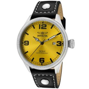 Đồng hồ Invicta Men's 1462 Vintage Collection Riveted Leather Strap Yellow Dial Watch