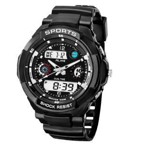 Đồng hồ Baidi Men's BBD-AK1170B Black Rubber Strap Black-Tone Analog Digital Sport Watch Waterproof