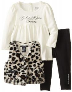 Quần áo bé gái Calvin Klein Baby-Girls Infant Animal Print Vest with Top and Black Pants