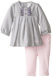 Quần áo bé gái Calvin Klein Baby-Girls Newborn Gray Tunic with Pink Leggings