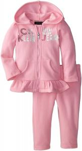 Quần áo bé gái Calvin Klein Baby-Girls Infant Hoody with Pull On Pants