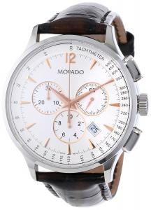 Đồng hồ Movado Men's 0606576 Circa Brown Crocodile-Embossed Leather Strap Watch