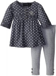 Quần áo bé gái Calvin Klein Baby-Girls Infant Blue Chambray Tunic with Leggings