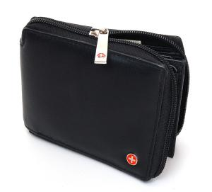 Ví nam Alpine Swiss Zippered Bifold Men's Wallet with Deluxe Credit Card Flip Pocket Genuine Lambskin Leather Comes in a Gift Bag -Black