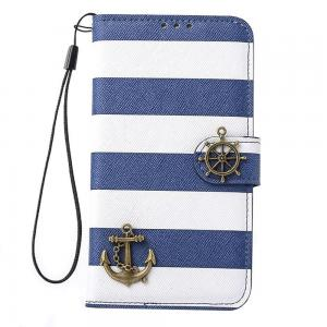 Túi đựng điện thoại Bessky(TM) 1pc Hot Sell Navy Stripes Anchor Rudder Wallet Case Cover (Samsung Galaxy S5 i9600)