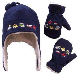 Mũ lông trẻ em N'Ice Caps Boys Sherpa Lined Micro Fleece Embroidered Hat and Mitten Set