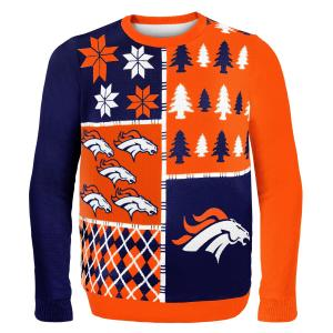 Áo thu đông NFL Football 2014 Ugly Christmas Sweater Busy Block Design - Pick Team! (Denver Broncos, Medium)