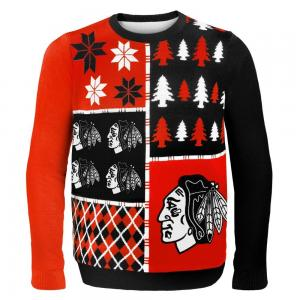 Áo thu đông Forever Collectibles CHICAGO BLACKHAWKS BUSY BLOCK UGLY SWEATER