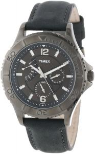 Đồng hồ Timex Men's T2P178KW Ameritus Retrograde Gray Leather Strap Watch