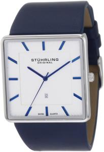 Đồng hồ Stuhrling Original Men's 342.3315C2 Classic Ascot Saratoga Swiss Quartz Ultra Slim Date Blue Leather Strap Watch