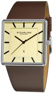 Đồng hồ Stuhrling Original Men's 342.3315K15 Classic Ascot Saratoga Swiss Quartz Ultra Slim Date Brown Leather Strap Watch