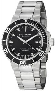 Đồng hồ Stuhrling Original Men's 749.02 Aquadiver Regatta Corvet Swiss Quartz Professional Diver Black Dial Stainless Steel Bracelet Watch