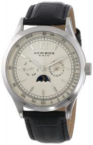 Đồng hồ Akribos XXIV Men's AK638SSB Retro Multi-Function Stainless Steel Black Leather Strap Watch