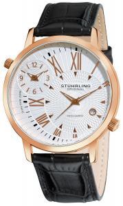 Đồng hồ Stuhrling Original Men's 343.33452 Symphony Eclipse Polaris Swiss Quartz Date and Dual Time Zone Rose Tone Watch
