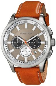 Đồng hồ Nautica Men's N16692G NCT 17 Stainless Steel Watch with Brown Leather Band