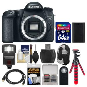 Máy ảnh Canon EOS 70D Digital SLR Camera Body with 64GB Card + Backpack + Flash + Battery + Flex Tripod + Remote Kit