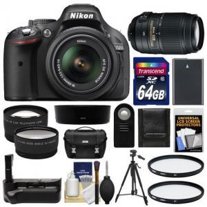 Máy ảnh Nikon D5200 Digital SLR Camera & 18-55mm G VR DX AF-S Zoom Lens (Black) with 55-300mm VR Lens + 64GB Card + Case + Grip & Battery + Tripod + Tele/Wide Lenses + Filters Kit