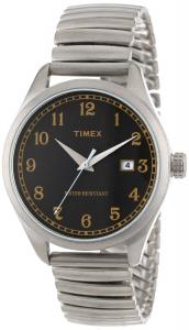 Đồng hồ Timex Unisex T2N4009J Originals 1900s Inspiration Black Dial Stainless Steel Expansion Band Watch