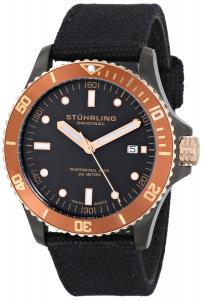 Đồng hồ Stuhrling Original Men's 825.03 Aquadiver Caravel Analog Display Swiss Quartz Black Watch