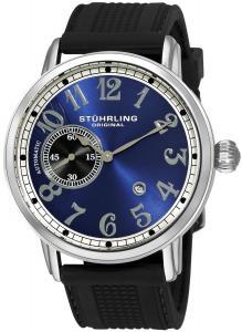 Đồng hồ Stuhrling Original Men's 229A2.33166 Classic Legacy de Novo Automatic Date Black Rubber Strap Watch