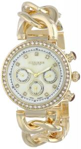 Đồng hồ Akribos XXIV Women's AK640YG Lady Diamond Swiss Multifunction Mother-of-Pearl Crystal Gold-tone Twist Chain Link Bracelet Watch